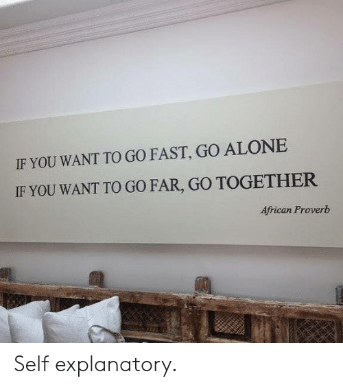 Being Alone, Fast, and You: IF YOU WANT TO GO FAST, GO ALONE  IF YOU WANT TO GO FAR, GO TOGETHER  African Proverb Self explanatory.