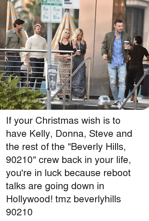 "Donna: If your Christmas wish is to have Kelly, Donna, Steve and the rest of the ""Beverly Hills, 90210"" crew back in your life, you're in luck because reboot talks are going down in Hollywood! tmz beverlyhills 90210"
