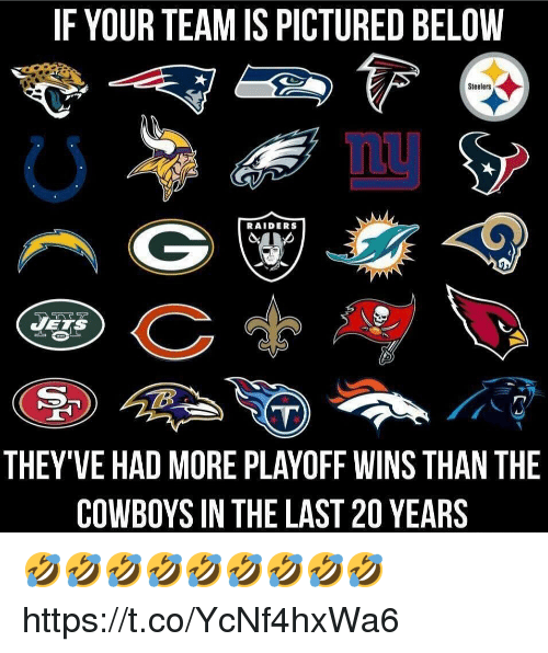 Dallas Cowboys, Raiders, and Steelers: IF YOUR TEAM IS PICTURED BELOVW  Steelers  RAIDERS  THEY'VE HAD MORE PLAYOFF WINS THAN THE  COWBOYS IN THE LAST 20 YEARS 🤣🤣🤣🤣🤣🤣🤣🤣🤣 https://t.co/YcNf4hxWa6