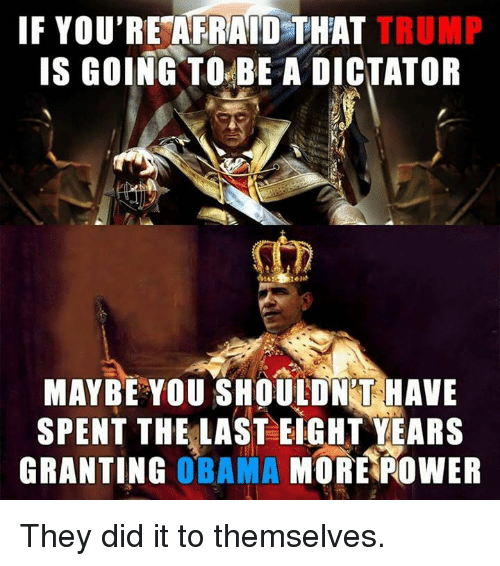 Memes, 🤖, and Dictator: IF YOU'RE AFRAID THAT  TRUMP  IS GOING TO BE A DICTATOR  MAYBE YOU SHOULDNT HAVE  SPENT THE LAST EIGHT YEARS  GRANTING  OBAMA  MORE POWER They did it to themselves.