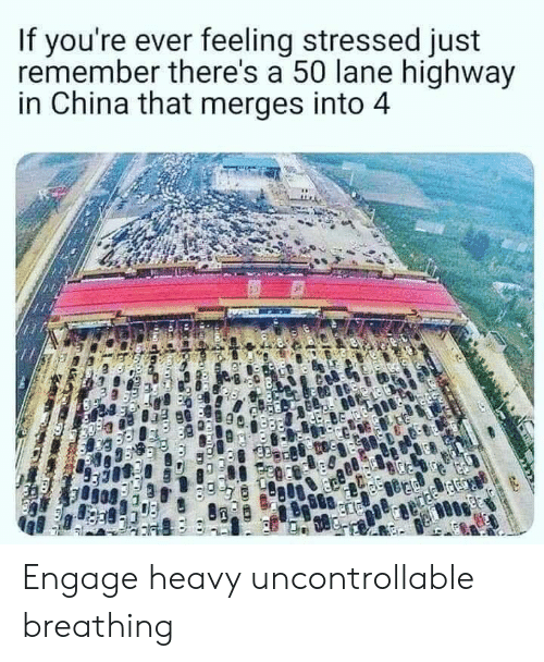 China, Highway, and Remember: If you're ever feeling stressed just  remember there's a 50 lane highway  in China that merges into 4 Engage heavy uncontrollable breathing