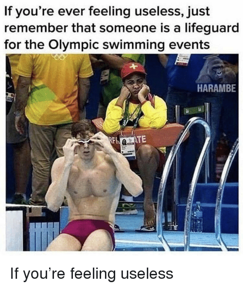 Swimming, Harambe, and Remember: If you're ever feeling useless, just  remember that someone is a lifeguard  for the Olympic swimming events  HARAMBE If you're feeling useless