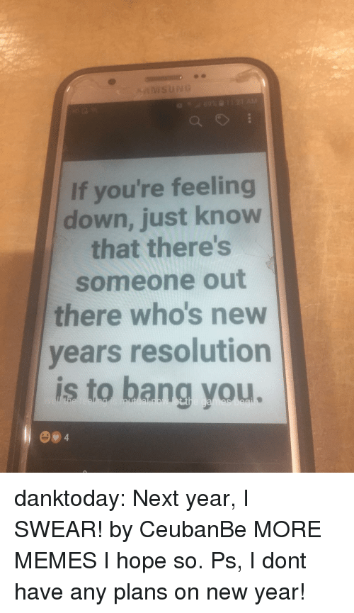 Dank, Memes, and New Year's: If you're feeling  down, just know  that there's  someone out  there who's new  vears resolution  is to bang you. danktoday:  Next year, I SWEAR! by CeubanBe MORE MEMES  I hope so. Ps, I dont have any plans on new year!