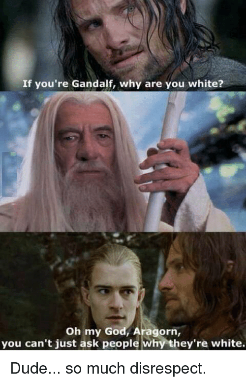You Cant Just Ask People Why Theyre White: If you're Gandalf, why are you white?  Oh my God, Aragorn,  you can't just ask people why they're white. Dude... so much disrespect.