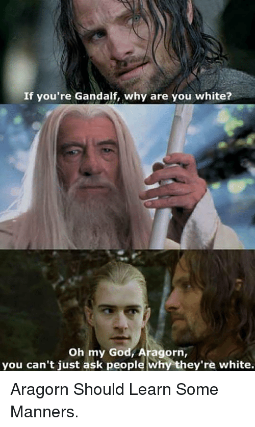 You Cant Just Ask People Why Theyre White: If you're Gandalf, why are you white?  Oh my God, Aragorn,  you can't just ask people why they're white. <p>Aragorn Should Learn Some Manners.</p>