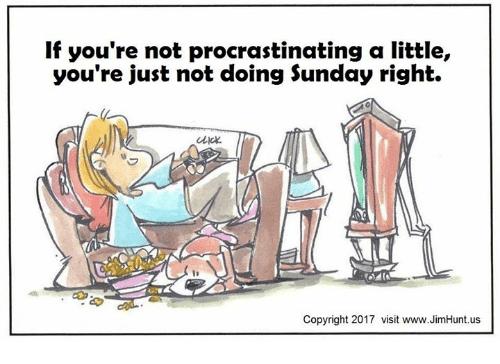Procrastining: If you're not procrastinating a little,  you're just not doing Sunday right.  Click.  Copyright 2017 visit www.JimHunt.us