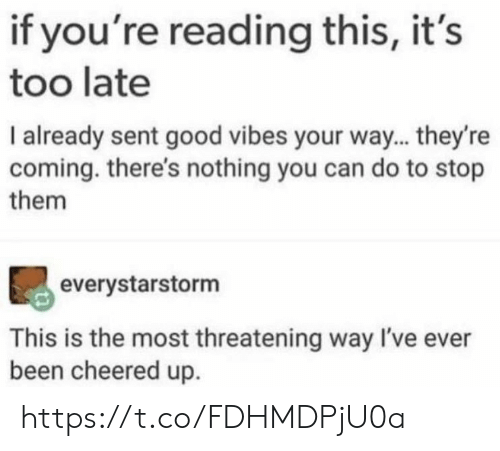 Memes, Good, and Good Vibes: if you're reading this, it's  too late  I already sent good vibes your way... they're  coming. there's nothing you can do to stop  them  everystarstorm  This is the most threatening way I've ever  been cheered up https://t.co/FDHMDPjU0a