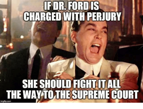 Memes, Fight, and 🤖: IFDR. FORDIS  CHARGED WITH PERJURY  SHE SHOULD FIGHT ITALL  THE WAYTO THESUPREME COURT  imglip.com