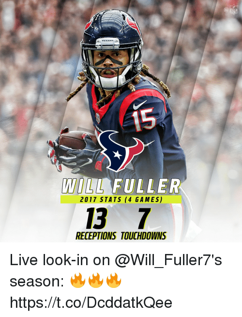 ifl: IFL  TEXAN  LL FULLER  2017 STATS (4 GAMES)  13 7  RECEPTIONS TOUCHDOWNS Live look-in on @Will_Fuller7's season: 🔥🔥🔥 https://t.co/DcddatkQee