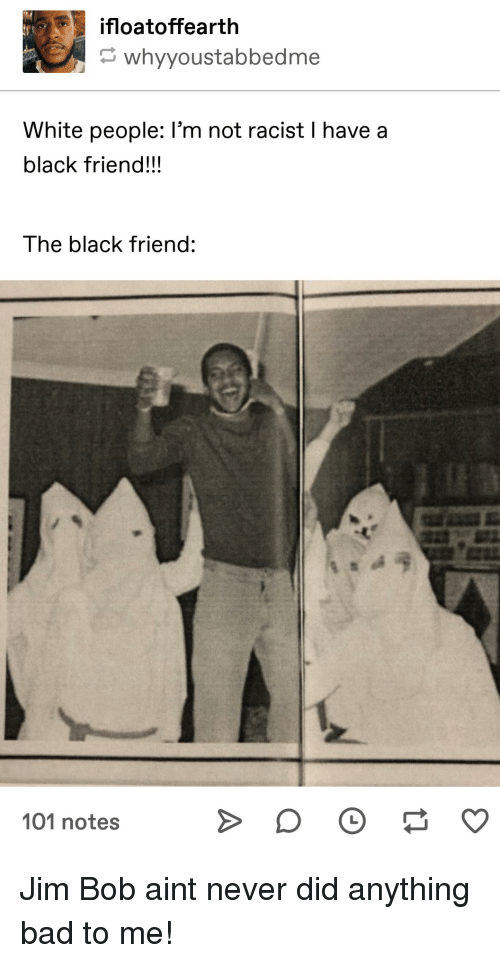 Bad, White People, and Black: ifloatoffearth  whyyoustabbedme  White people: I'm not racist I have a  black friend!!!  The black friend:  101 notes Jim Bob aint never did anything bad to me!