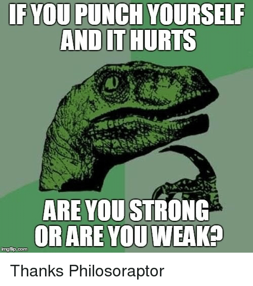 Philosoraptor: IFYOU PUNCH YOURSELF  AND IT HURTS  ARE YOU STRONG  ORARE YOU WEAK?  mgfip.com <p>Thanks Philosoraptor</p>