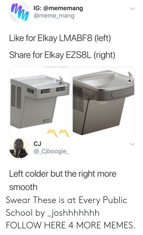 mang: IG: @mememang  @meme_mang  Like for Elkay LMABF8 (left)  Share for Elkay EZS8L (right)  CJ  @_Cjboogie_  Left colder but the right more  smooth Swear These is at Every Public School by _joshhhhhhh FOLLOW HERE 4 MORE MEMES.
