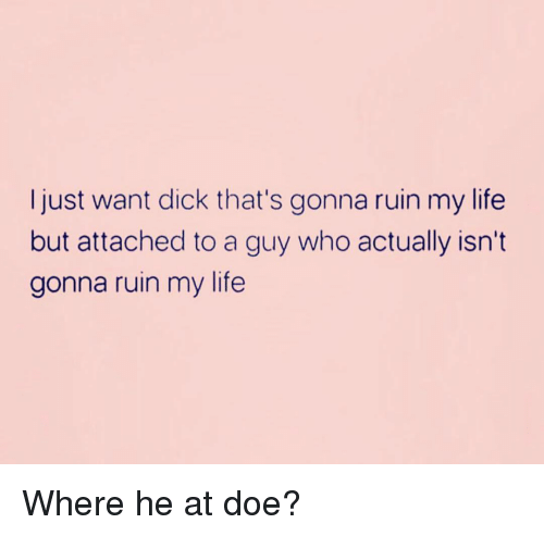Doe, Life, and Dick: Ijust want dick that's gonna ruin my life  but attached to a guy who actually isn't  gonna ruin my life Where he at doe?