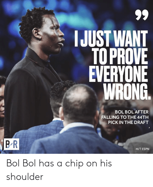 Espn, Chip, and Bol: IJUST WANT  TOPROVE  EVERYONE  WRONG.  BOL BOL AFTER  FALLING TO THE 44TH  PICK IN THE DRAFT  BR  H/T ESPN Bol Bol has a chip on his shoulder