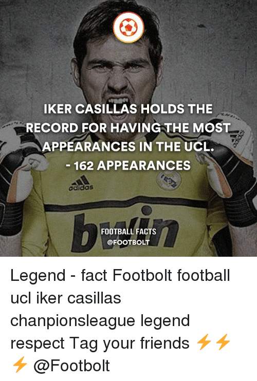 Iker Casillas: IKER CASILLAs HOLDS THE  RECORD FOR HAVING THE MOST  APPEARANCES IN THE UCL.  162 APPEARANCES  adidas  FOOTBALL FACTS  @FOOT BOLT Legend - fact Footbolt football ucl iker casillas chanpionsleague legend respect Tag your friends ⚡️⚡️⚡️ @Footbolt