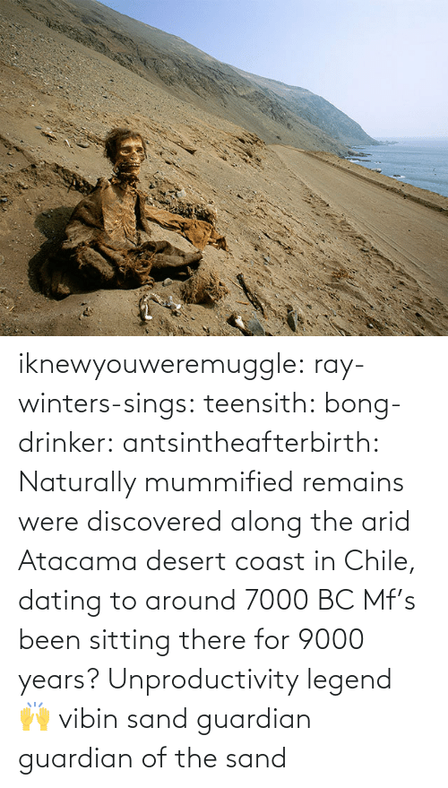 Coast: iknewyouweremuggle:  ray-winters-sings: teensith:  bong-drinker:  antsintheafterbirth: Naturally mummified remains were discovered along the arid Atacama desert coast in Chile, dating to around 7000 BC   Mf's been sitting there for 9000 years? Unproductivity legend 🙌  vibin    sand guardian   guardian of the sand