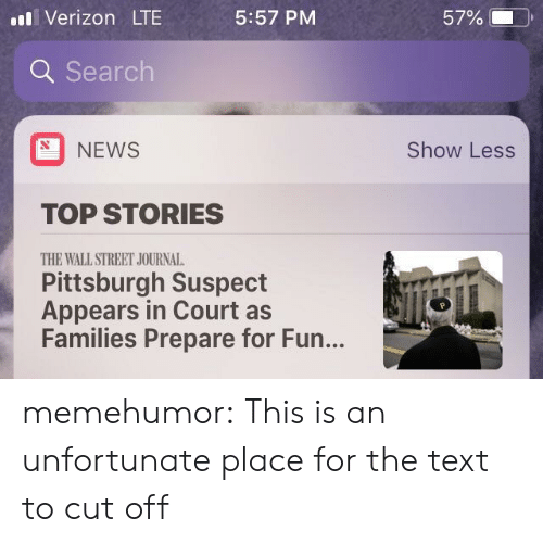 News, Tumblr, and Verizon: il Verizon LT  5:57 PM  57% (-  ).  Q Search  NEWS  Show Less  TOP STORIES  THE WALL STREET JOURNAL  Pittsburgh Suspect  Appears in Court as  Families Prepare for Fun... memehumor:  This is an unfortunate place for the text to cut off
