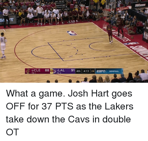 Cavs, Los Angeles Lakers, and Game: ILAL  91 | 4th | 4:13 |24|ESFİ İSEMIFINAL  12 CLE 88  TO: 2 What a game.  Josh Hart goes OFF for 37 PTS as the Lakers take down the Cavs in double OT