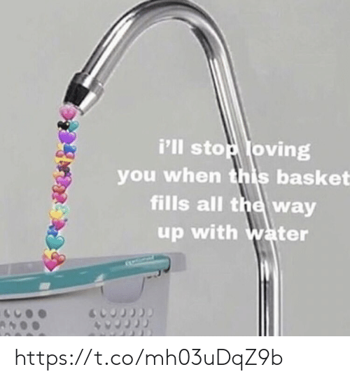 All The Way Up: i'lI stop loving  you when this basket  fills all the way  up with water https://t.co/mh03uDqZ9b