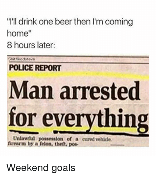 """Man Arrested For Everything: """"I'll drink one beer then I'm coming  home""""  8 hours later:  Shitheadsteve  POLICE REPORT  Man arrested  for everything  Unlawful possession of a cured vehicle  frearm by a felon, thet, pos Weekend goals"""