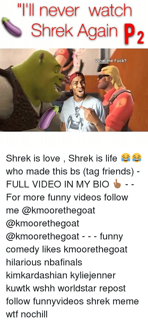 "Friends, Funny, and Life: ""I'll never watch  Shrek Again P2  What the Fuck? Shrek is love , Shrek is life 😂😂 who made this bs (tag friends) -FULL VIDEO IN MY BIO 👆🏾 - - For more funny videos follow me @kmoorethegoat @kmoorethegoat @kmoorethegoat - - - funny comedy likes kmoorethegoat hilarious nbafinals kimkardashian kyliejenner kuwtk wshh worldstar repost follow funnyvideos shrek meme wtf nochill"
