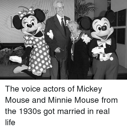 mickey-mouse-and-minnie-mouse: ill The voice actors of Mickey Mouse and Minnie Mouse from the 1930s got married in real life