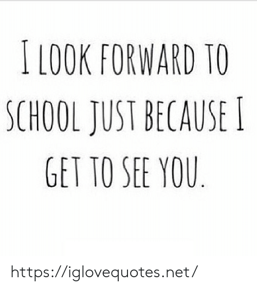 School, Net, and You: ILOOK FORWARD TO  SCHOOL JUST BECAUSE  GET TO SEE YOU https://iglovequotes.net/