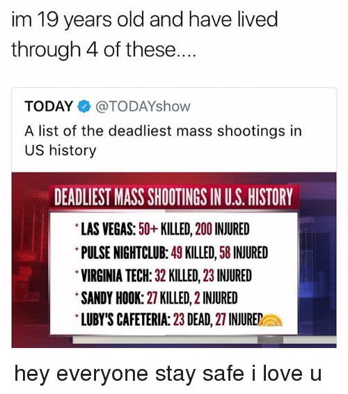 Virginia Tech: im 19 years old and have lived  through 4 of these....  TODAY@TODAYshow  A list of the deadliest mass shootings in  US history  DEADLIEST MASS SHOOTINGS IN U.S. HISTORY  LAS VEGAS: 50+KILLED, 200 INJURED  PULSE NIGHTCLUB: 49 KILLED, 58 INJURED  VIRGINIA TECH: 32 KILLED, 23 INJURED  SANDY HOOK: 27 KILLED, 2 INJURED  LUBY'S CAFETERIA: 23 DEAD, 27 INJUREa hey everyone stay safe i love u