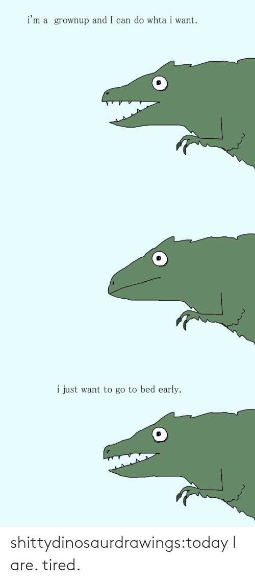 bed: i'm a grownup and I can do whta i want.   i just want to go to bed early. shittydinosaurdrawings:today I are. tired.