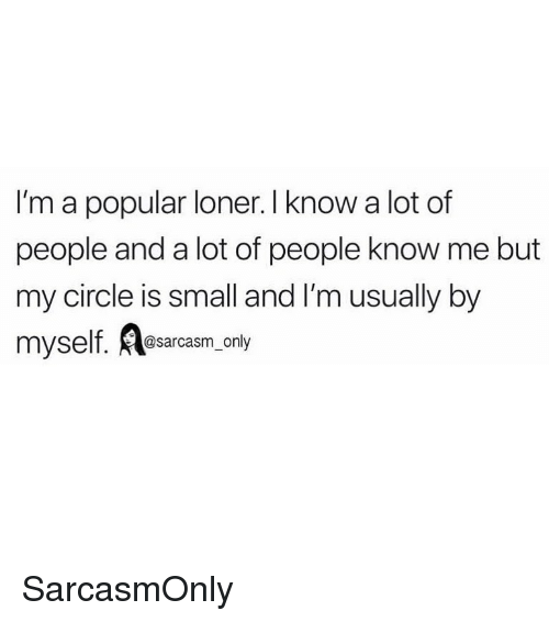 Funny, Memes, and Popular: I'm a popular loner. I know a lot of  people and a lot of people know me but  my circle is small and I'm usually by  myself. esarcasm, only SarcasmOnly