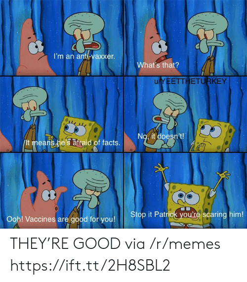 Good For You: I'm an anti-vaxxer.  What's that?  uYEETTHETURKEY  No. it doesn't!  It means he's atraid of facts.  Stop it Patrick you're scaring him!  Ooh! Vaccines are good for you! THEY'RE GOOD via /r/memes https://ift.tt/2H8SBL2