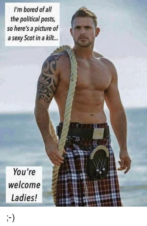 kilt: I'm bored of all  the political posts,  so here's a picture of  a sexy Scot in a kilt...  You're  welcome  Ladies! ;-)