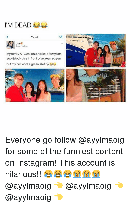 green screen: I'M DEAD  Tweet  Lisa  Lisa  @annnnalisa  My family & I went on a cruise a few years  ago & took pics in front of a green screen  but my bro wore a green shirt  汇 Everyone go follow @ayylmaoig for some of the funniest content on Instagram! This account is hilarious!! 😂😂😂😭😭😭 @ayylmaoig 👈 @ayylmaoig 👈 @ayylmaoig 👈