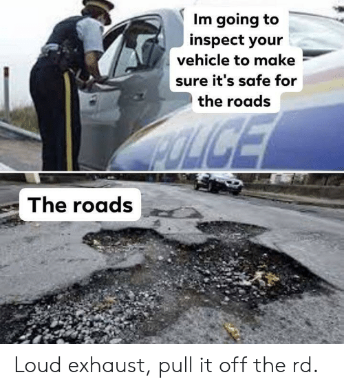Safe, Make, and For: Im going to  inspect your  vehicle to make  sure it's safe for  the roads  The roads Loud exhaust, pull it off the rd.