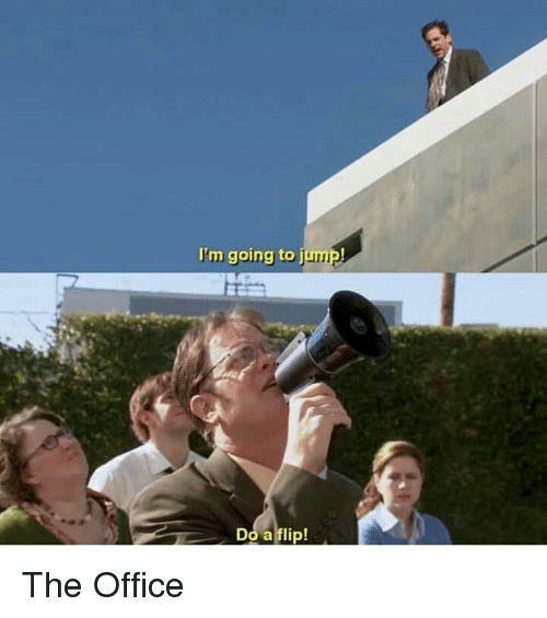 The Office, Office, and Flip: I'm going to jump!  Do a flip! The Office