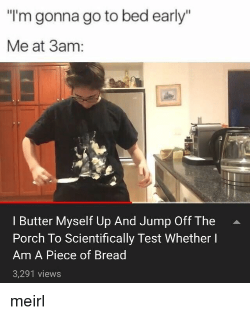"Test, MeIRL, and Bread: ""I'm gonna go to bed early""  Me at 3am:  I Butter Myself Up And Jump Off The  Porch To Scientifically Test Whether I  Am A Piece of Bread  3,291 views meirl"