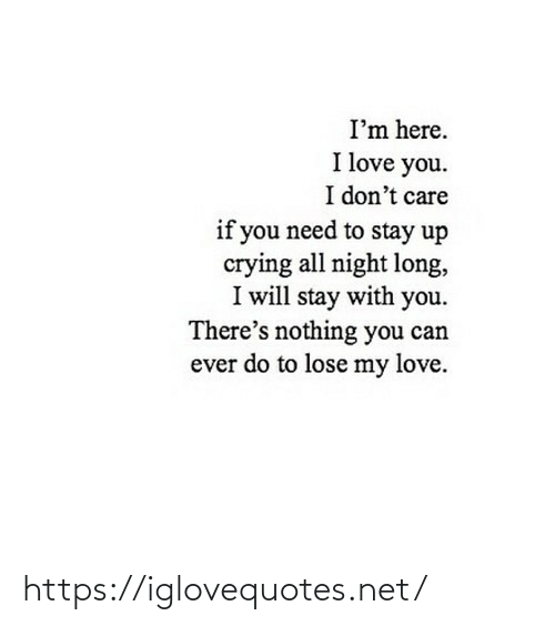 I Love You: I'm here.  I love you.  I don't care  if you need to stay up  crying all night long,  I will stay with you.  There's nothing you can  ever do to lose my love. https://iglovequotes.net/