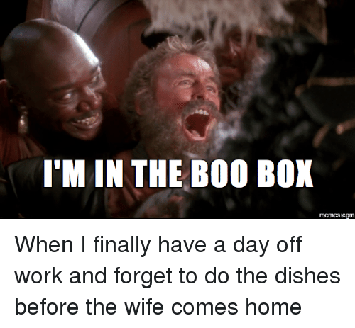 Boo, Boxing, and Finals: I'M IN THE BOO BOX  memes com When I finally have a day off work and forget to do the dishes before the wife comes home
