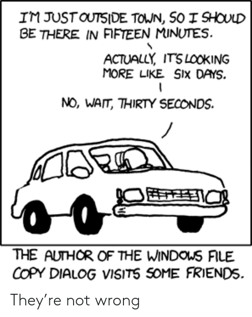 Friends, They, and Town: IM JUSTOUTSIDE TOWN, SO I SHOULD  BE THERE IN FIFTEEN MINUTES.  ACTUALLY ITSLOOKING  MORE LIKE SIX DAYS.  NO, WAIT, THIRTY SECONDS.  THE AUTHOR OF THE WINDOUS FILE  COPY DIALOG VISITS SOME FRIENDS They're not wrong