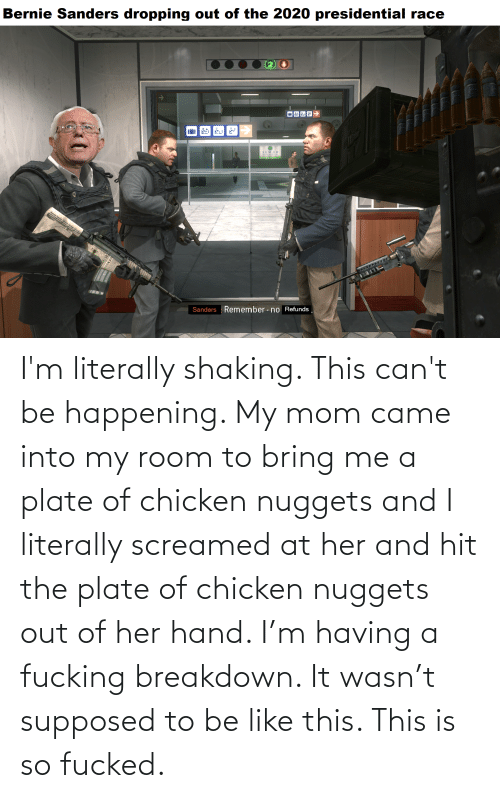 breakdown: I'm literally shaking. This can't be happening. My mom came into my room to bring me a plate of chicken nuggets and I literally screamed at her and hit the plate of chicken nuggets out of her hand. I'm having a fucking breakdown. It wasn't supposed to be like this. This is so fucked.