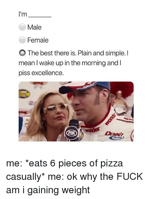 plain-and-simple: I'm  Male  Female  O The best there is. Plain and simple.l  mean l wake up in the morning and I  piss excellence  DENNiT me: *eats 6 pieces of pizza casually* me: ok why the FUCK am i gaining weight