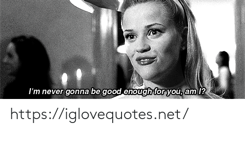 Good, Never, and Net: I'm never gonna be good enough for you, am I? https://iglovequotes.net/