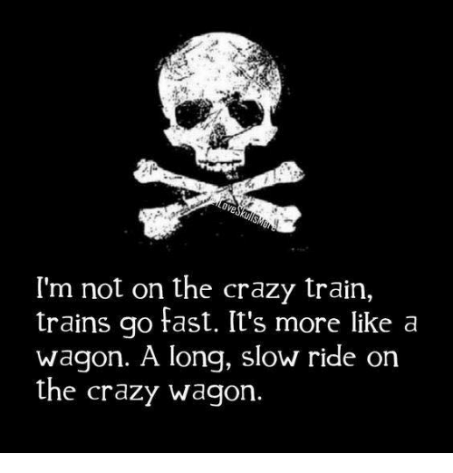 Crazy, Dank, and Train: I'm not on the crazy train,  trains go fast. It's more like a  Wagon. A long, slow ride on  the crazy wagon.