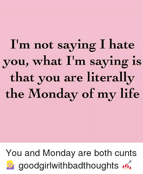 Im Not Saying I Hate You: I'm not saying I hate  you, what I'm saying is  that you are literally  the Monday of my life You and Monday are both cunts 💁🏼 goodgirlwithbadthoughts 💅🏻
