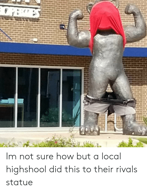 Rivals, How, and Local: Im not sure how but a local highshool did this to their rivals statue