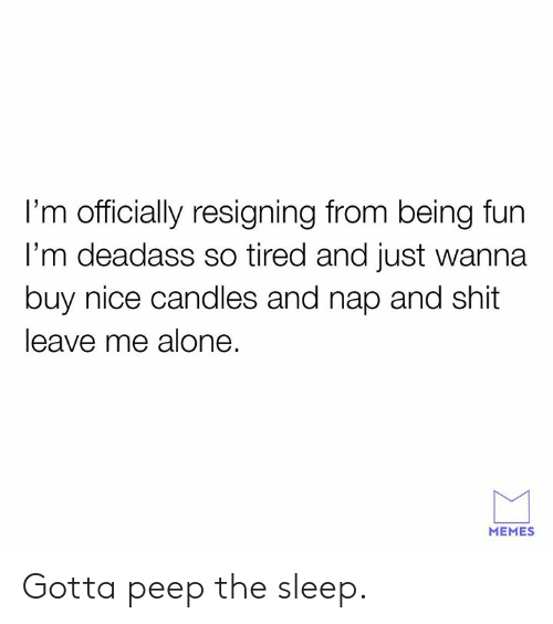 Being Alone, Dank, and Memes: I'm officially resigning from being fun  l'm deadass so tired and just wanna  buy nice candles and nap and shit  leave me alone.  MEMES Gotta peep the sleep.