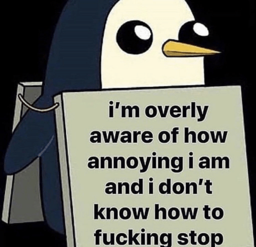 Fucking, How To, and Annoying: i'm overly  aware of how  annoying i amm  and i don't  know how to  fucking stop