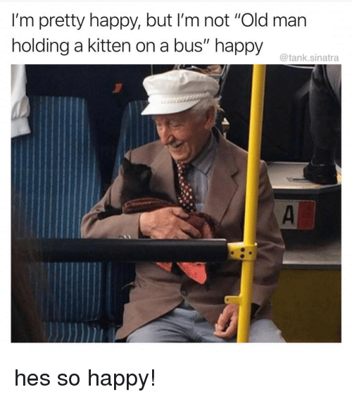 """Old Man, Happy, and Old: I'm pretty happy, but I'm not """"Old man  holding a kitten on a bus"""" happy  @tank.sinatra hes so happy!"""