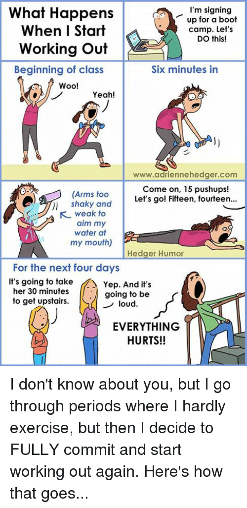 Everything Hurts: I'm signing  What Happens  up for a boot  When I Start  camp. Let's  DO this!  Working out  Beginning of class  Six minutes in  Woo!  Yeah!  www.adriennehedger.com  Come on, 15 pushups!  (Arms too  Let's go! Fifteen, fourteen...  shaky and  KL weak to  aim my  water at  my mouth)  Hedger Humor  For the next four days  It's going to take  A Yep. And it's  her 30 minutes  going to be  to get upstairs.  loud  EVERYTHING  HURTS!! I don't know about you, but I go through periods where I hardly exercise, but then I decide to FULLY commit and start working out again. Here's how that goes...