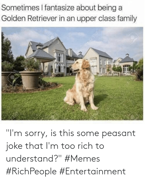 """im sorry: """"I'm sorry, is this some peasant joke that I'm too rich to understand?"""" #Memes #RichPeople #Entertainment"""
